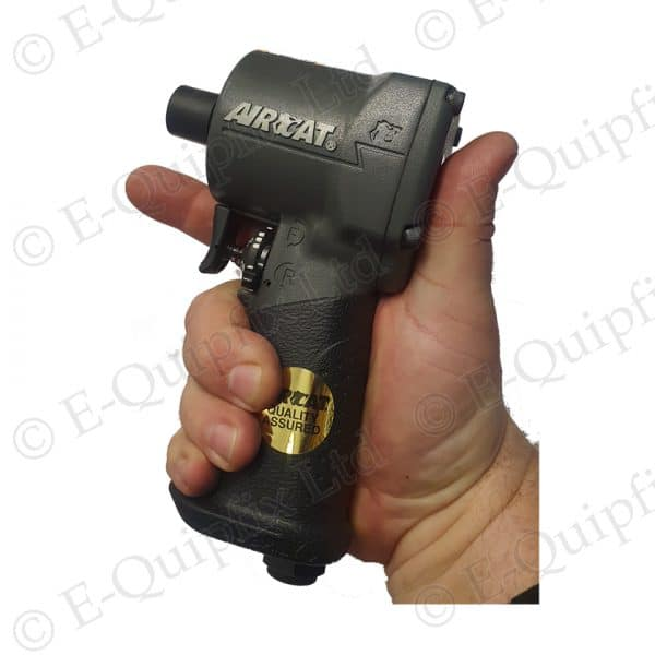 """Air Cat 1077 THA 3/8"""" Stubby Impact Wrench in hand for size example"""